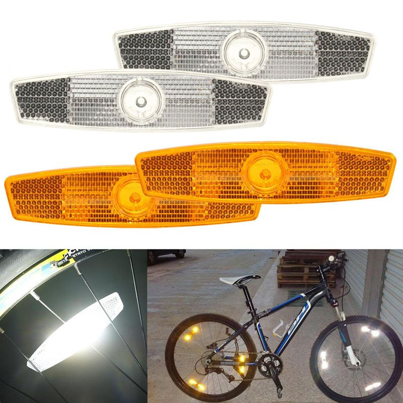 BIKE WHEEL REFLECTOR ORANGE SPOKE WARNING LIGHT LAMPE BICYCLE FIXIE MTB SAFETY