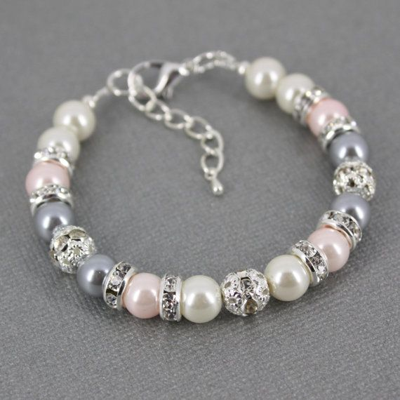 Bracelet gris et rose Bracelet perle rose par DaisyBeadzJoaillerie