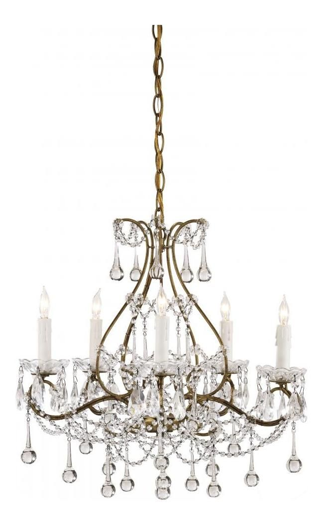 Currey Smoke Gold Paradmour 5 Light Chandelier With Clear Crystal Accents 9008