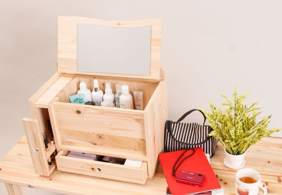 Wooden Makeup Box Cosmetics Organizer Drawers Jewelry Storage