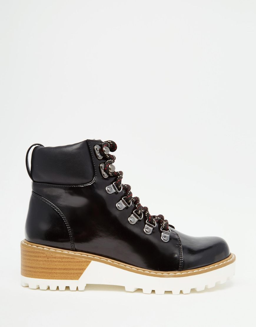 Image 2 of Monki Patent Hiker Boots