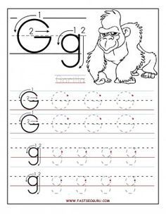 Printable letter G tracing worksheets for preschool ...