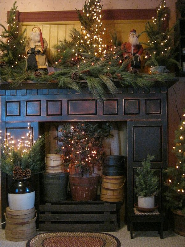 Primitive And Country Christmas Decorating Ideas   Via Over The Edge Design