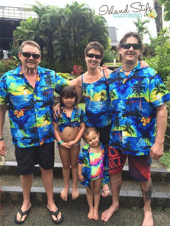 b0e83e039ffb Family holiday in Fiji - wearing matching Blue Sunset Hawaiian Print  Clothing from Island Style Clothing #groupmatching #familymatching  #bluesunet ...