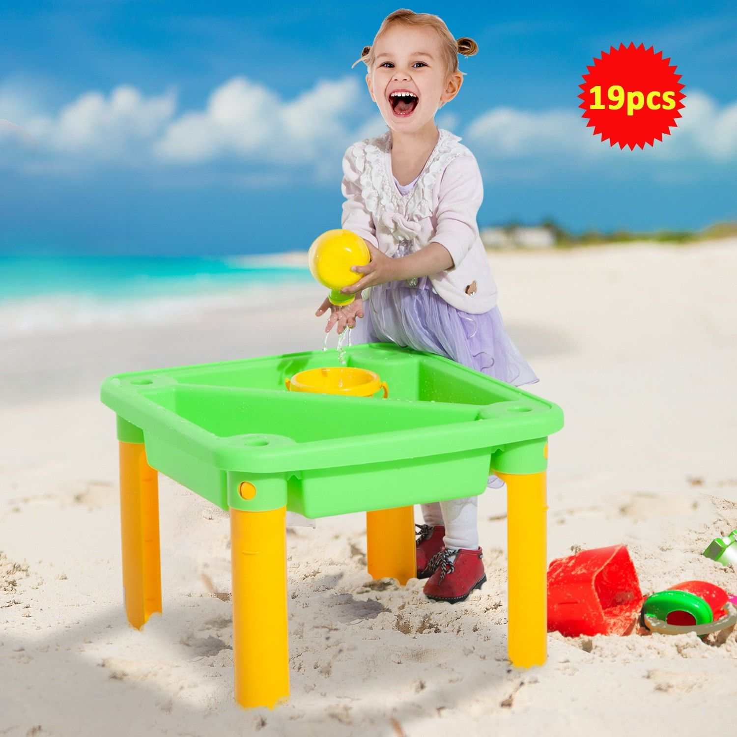Sandboxes Toys Games Homcom Sand And Water Table With Beach Play Set For Kids Children Garden Toys 19pcs