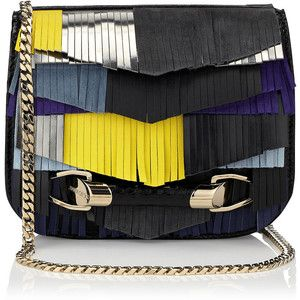 Jimmy Choo ZADIE Bluebell Mix Satin Leather with Mixed Fringe and Elaphe Cross Body Bag