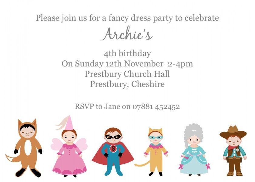 Fancy Dress birthday party invitation. | Fancy Dress | Pinterest ...