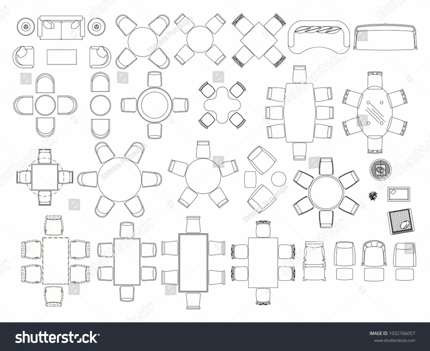Top View Of Set Furniture Elements Outline Symbol For Dining Room Cafe Restaurant And Living Room Interior Icon Chair T In 2020 City Illustration Elements Settings