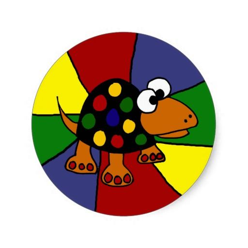 Colorful funny spotted turtle original art classic round sticker