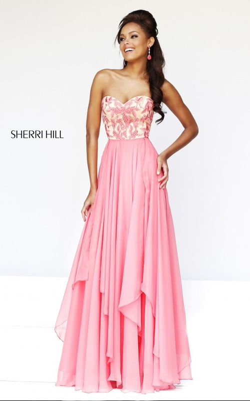 Coral Sherri Hill 1924 Empire Waist Prom Dress