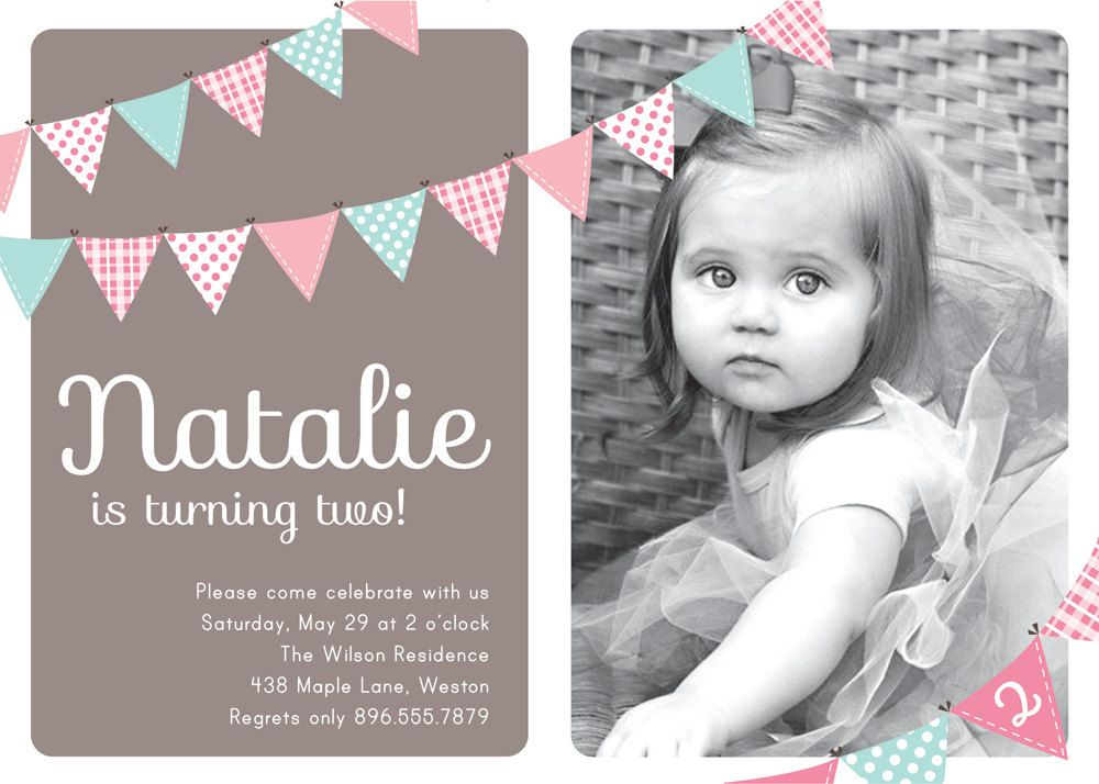 First Birthday Invitation Bunting Flags Banner Photo Printable Invite