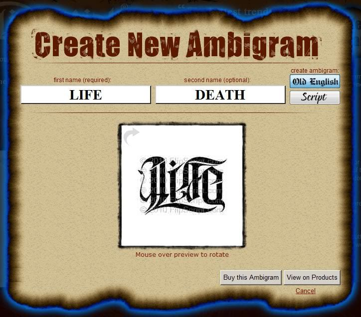 Free Ambigram Tattoos Generator