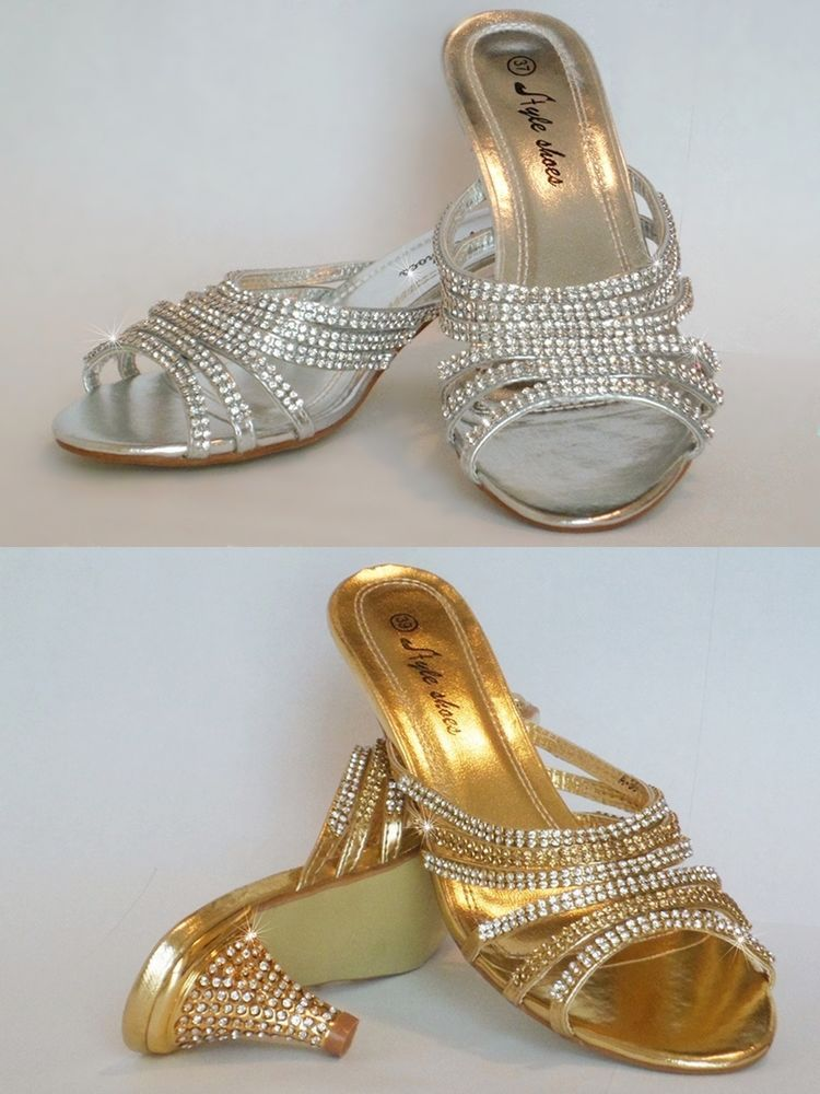 New Las Diamante Low Heel Prom Evening Bridal Slip On Shoes Sandal Mules Size