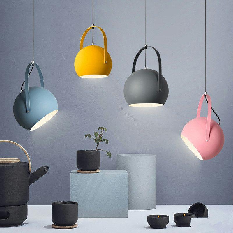 Nordic Pendant Light Creative Restaurant Lamp Simple Cafe Lamp Tea Shop Internet Cafe Bar Lamp Colorful Pendant Light Glass Pendant Light Bedroom Ceiling Light