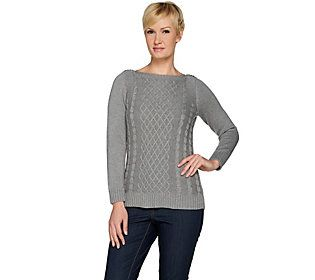 Susan Graver Cotton Acrylic Cable Knit Boat Neck Sweater