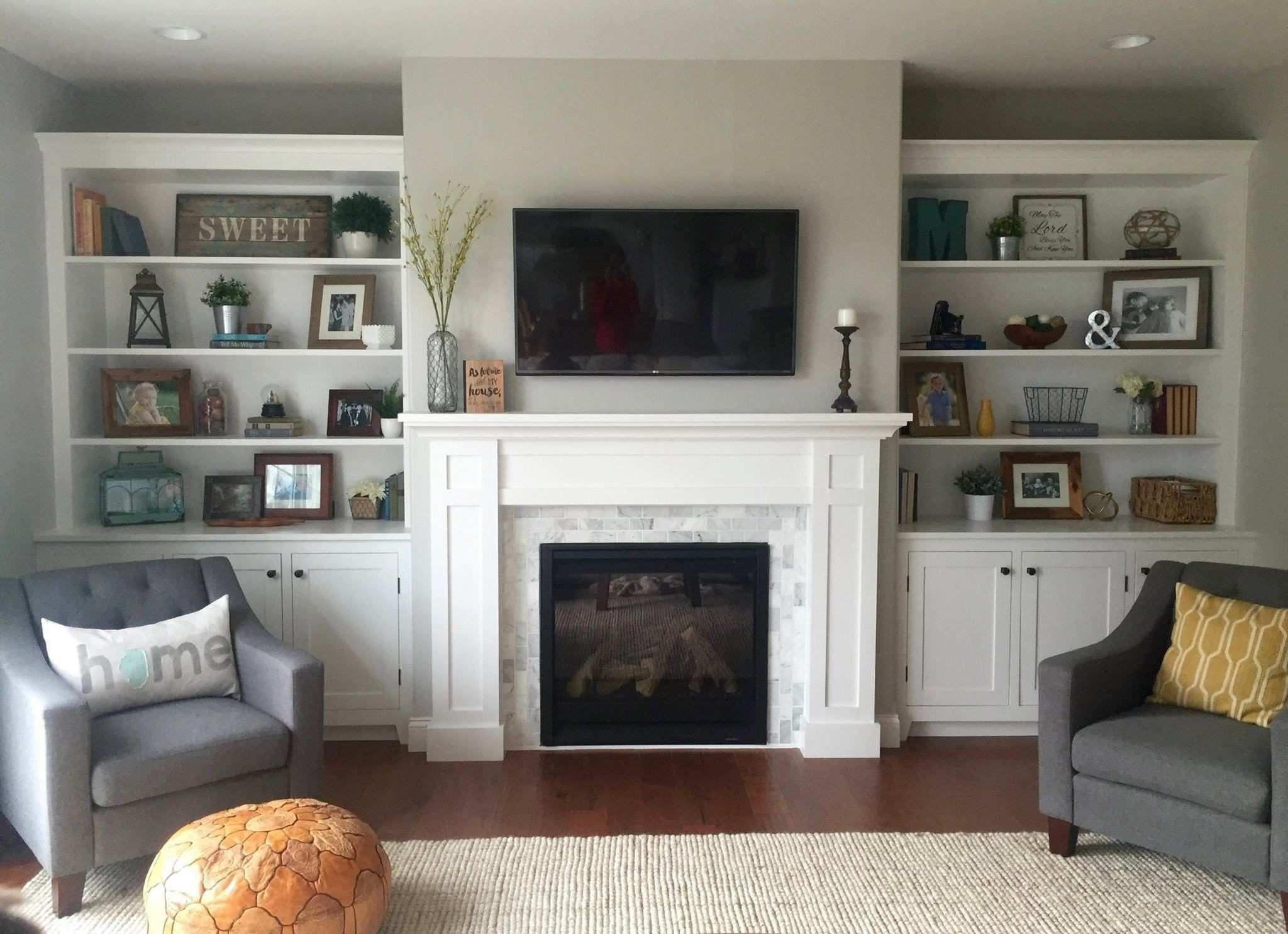 Decorating Ideas For Fireplace Mantel Luxury Built Ins Shiplap Whitewash Brick Fireplace Bookshelf Styling Living Room Built Ins Fireplace Built Ins Living Room With Fireplace