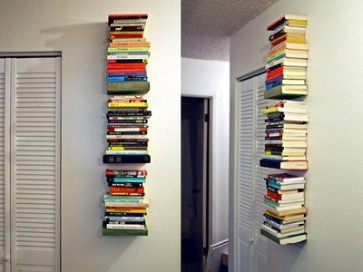 Diy Invisible Book Shelf You Need To Sacrifice One Hardcover Book