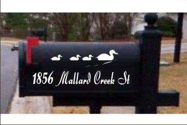 Wading Duck House Numbers Mailbox Decals Address Sign
