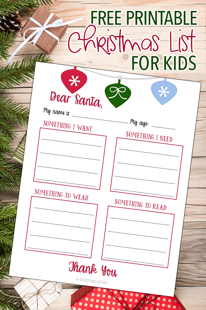 Want Need Wear Read Christmas List Free Printable Kids Christmas List Simplify Christmas Christmas Gifts For Kids