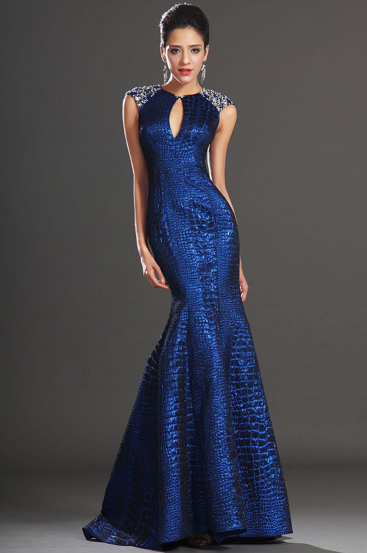 Sleeveless Sapphire Blue Evening Gown Dress (18) (mit