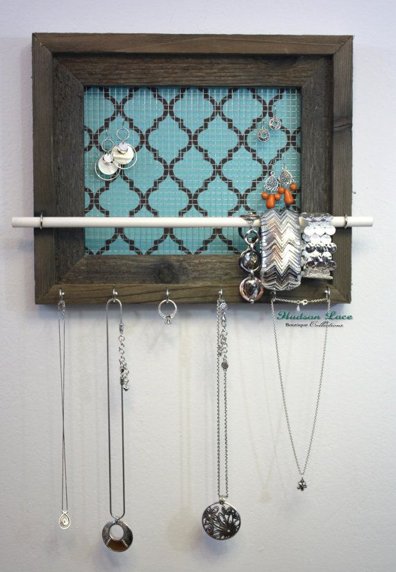 Quatrefoil Jewelry Organizer 11 x 14 Jewelry Display Pattern Shown in Turquoise and Chocolate Brown