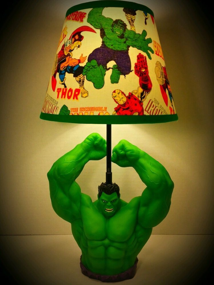 New! Marvel The Incredible Hulk Lamp & Avengers Lampshade