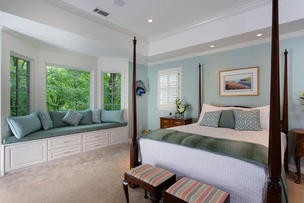 Bay window molding bedroom traditional with window seat ...