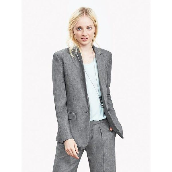 Banana Republic Womens Gray Lightweight Wool One Button Blazer ...