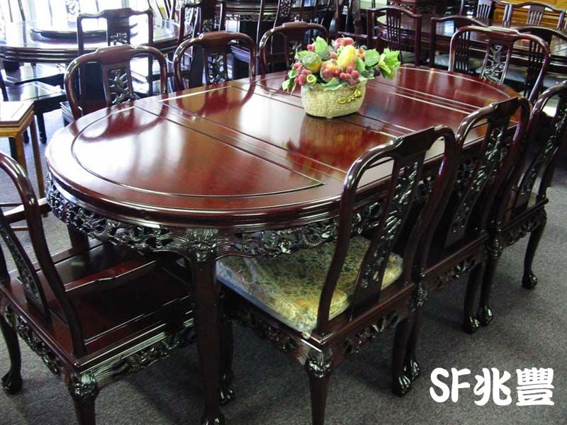 Rosewood Dining Set 80 X44 X31 Oval Shape Dining Table 2 Arm