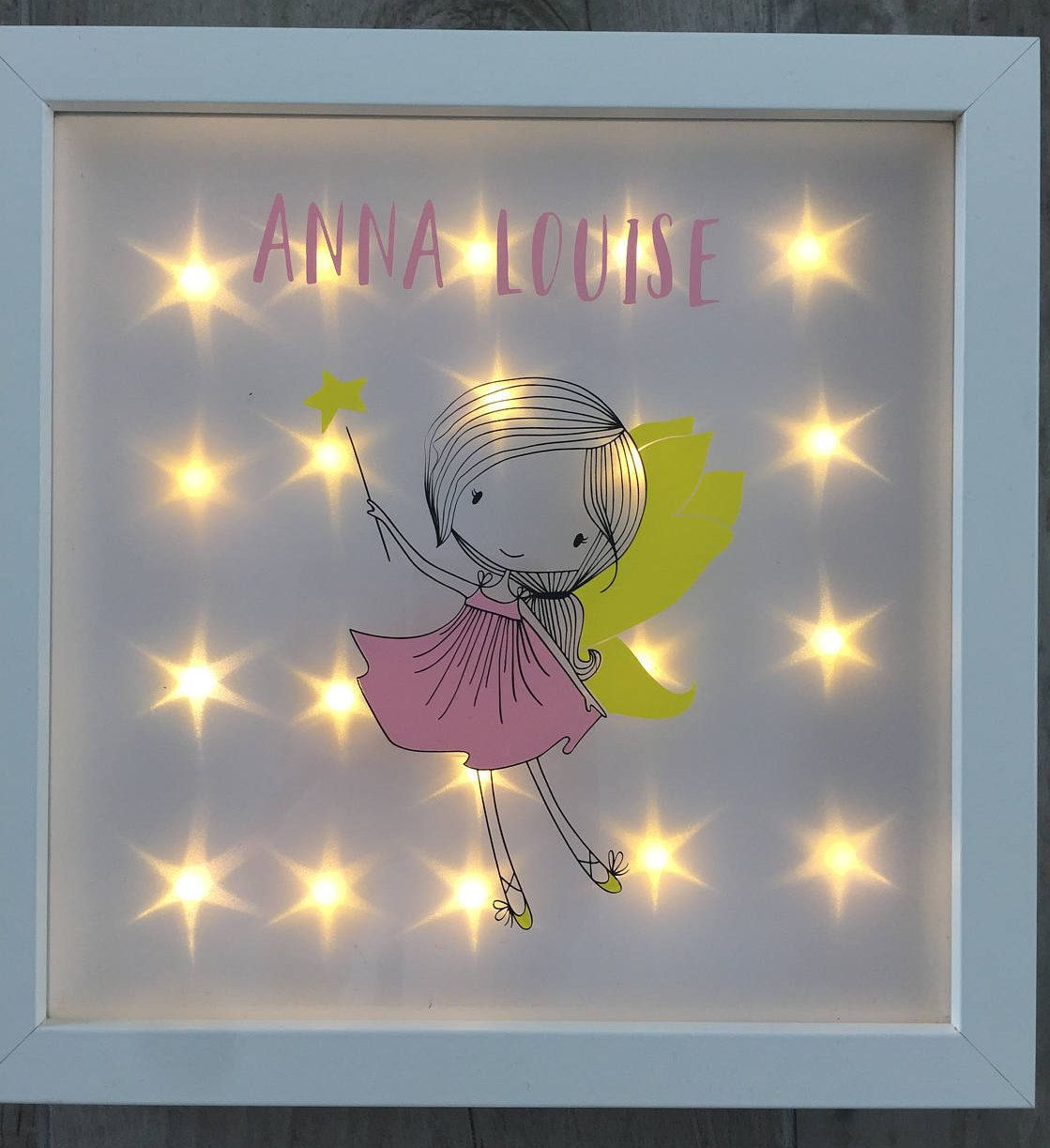 Illuminated picture frame name, night light, fairy, gift birthday