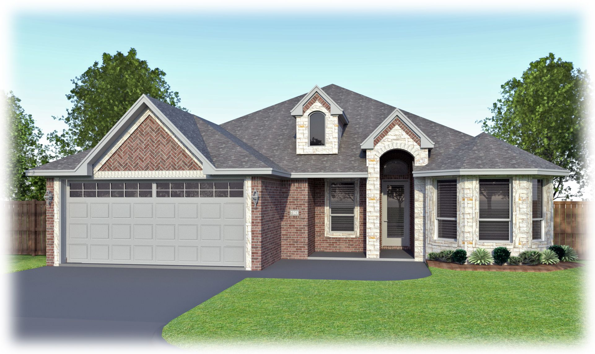 This Erminia B By Permian Homes Features Stone On The Dormer Bay Window And Entrance And Accents Of Stone Around The Ga Model Homes House Styles House Colors