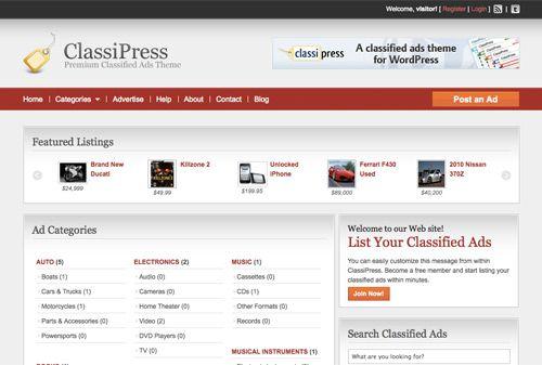 ClassiPress es el anuncio clasificado tema original y más popular ...