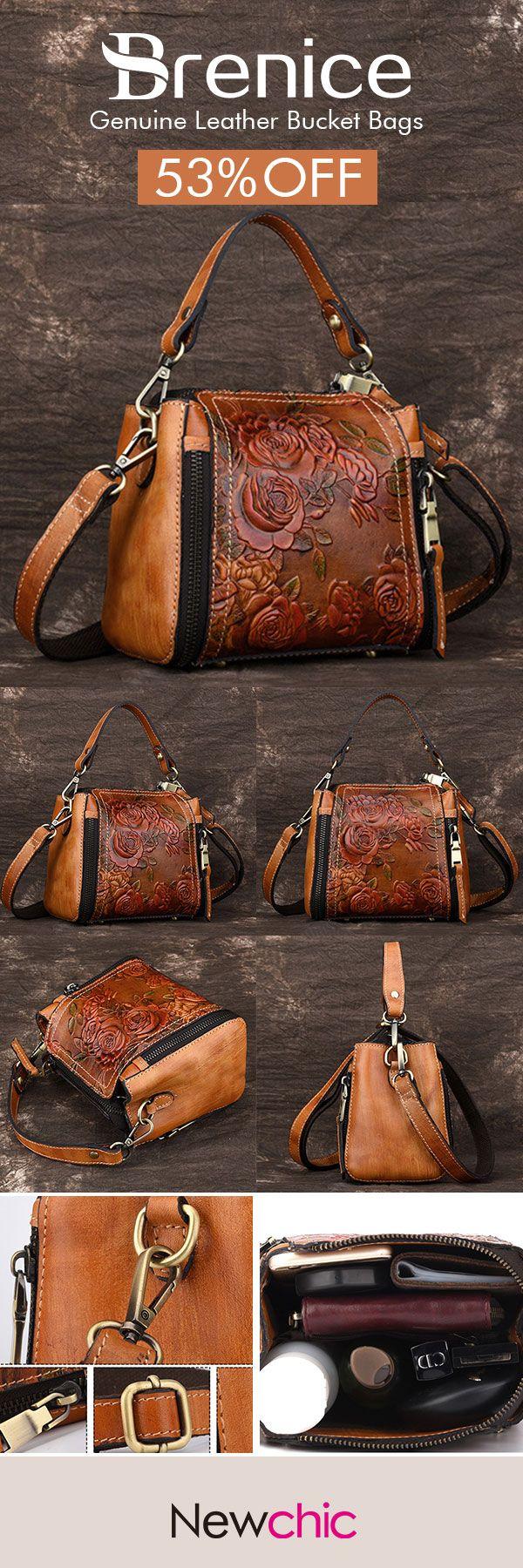 e04a52bee140  52%OFF  Brenice New Retro Genuine Leather Bucket Handbag Hand Embossed  Craft Flower Crossbody bag