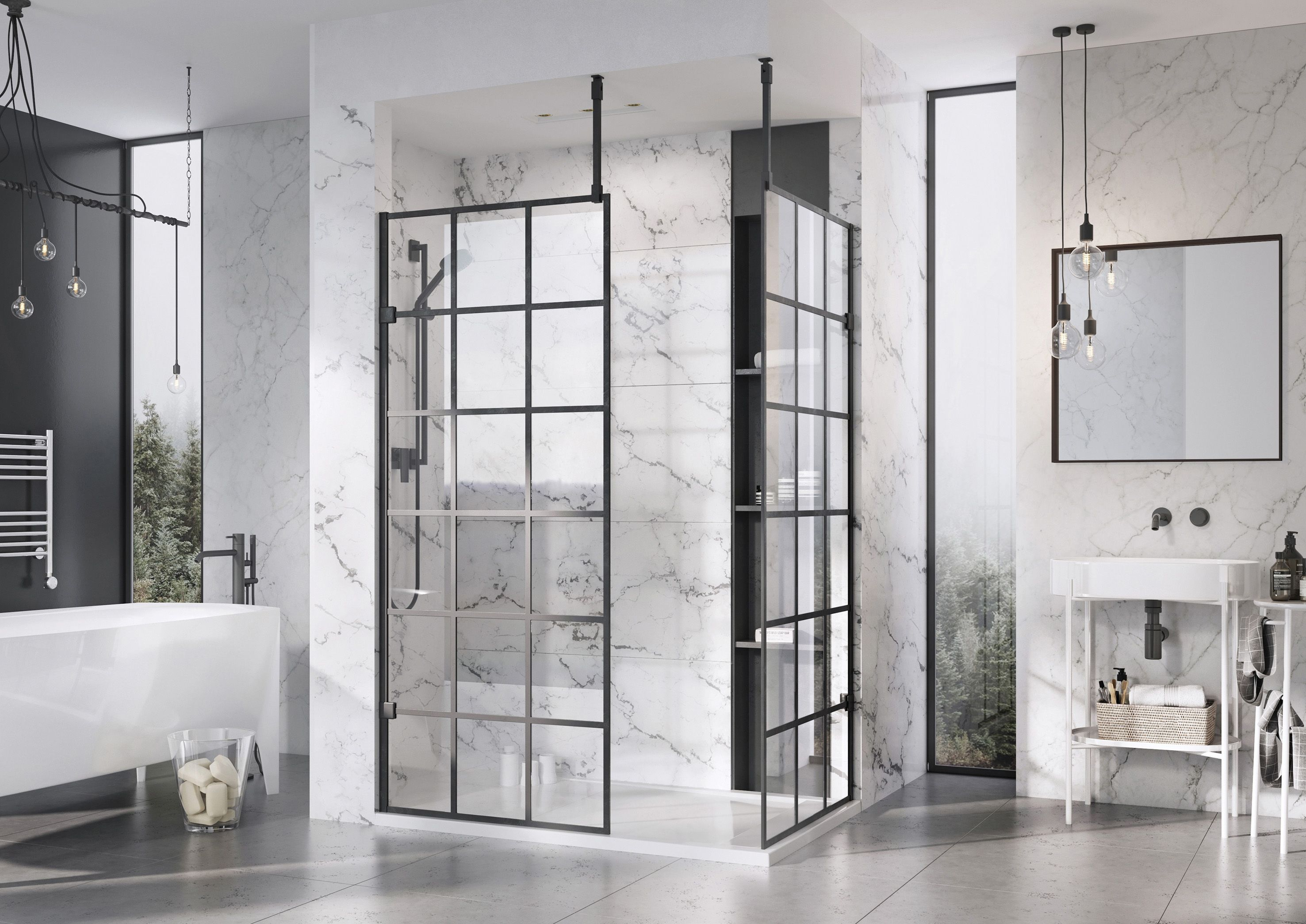 Roman S Black Grid Printed Glass Wetroom Panels Blackandwhite Bathroomideas Bathroomdesign Bathroomdecor Bathr Shower Screen Bathroom Trends Shower Panels