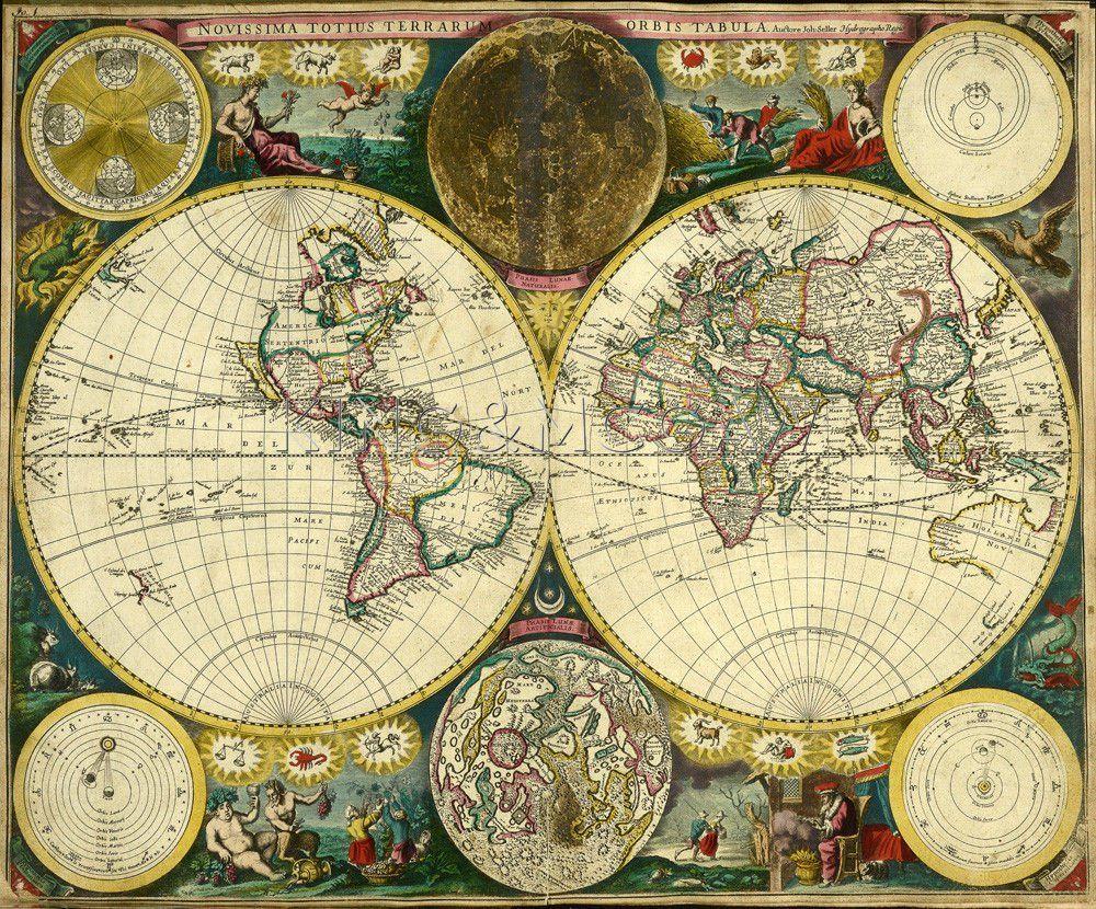 Atlas Maritimus World Map 1698 Art Print