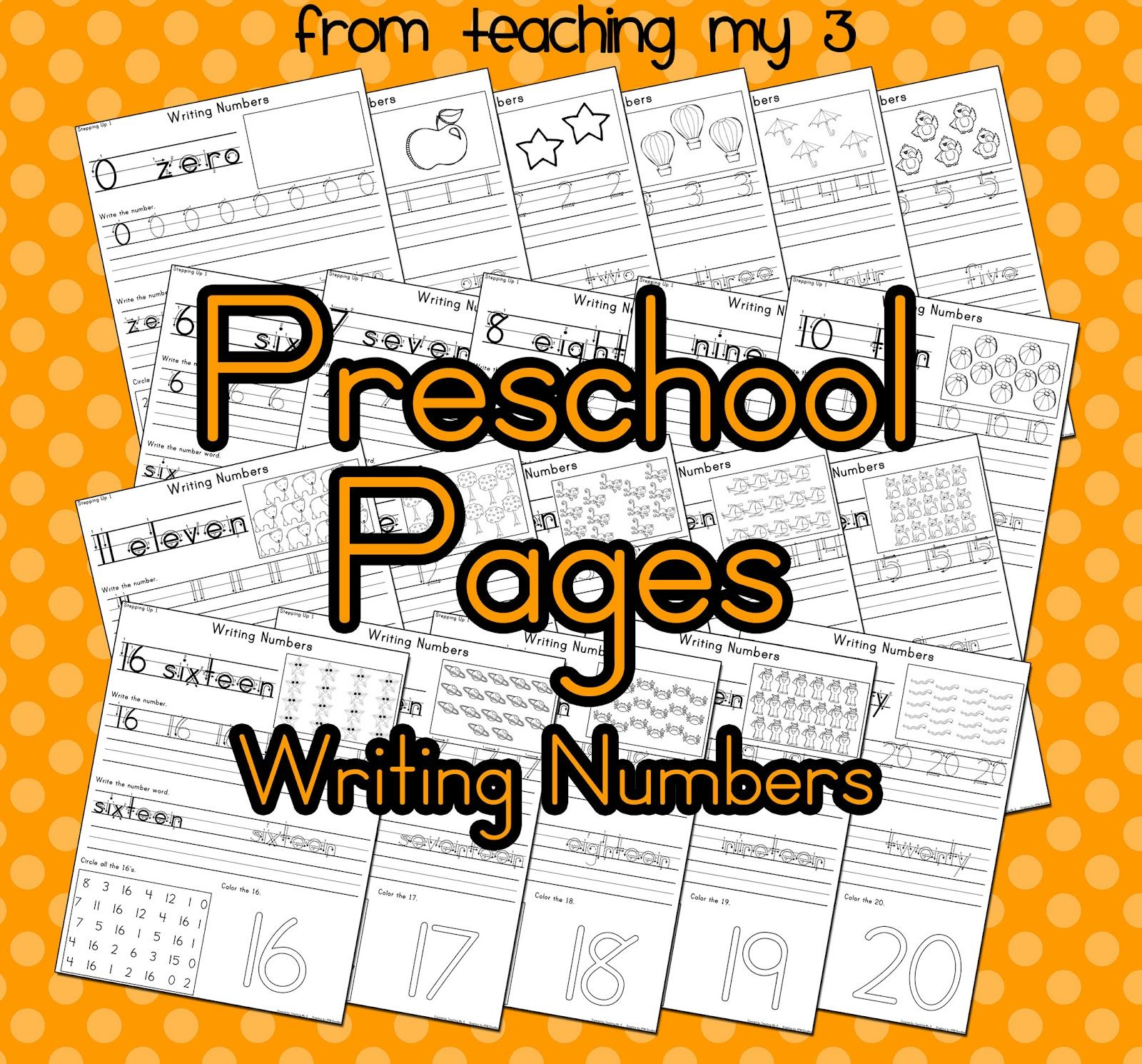 Freebie Friday Preschool Kinder Number Writing Pages Free 23 Page Printable