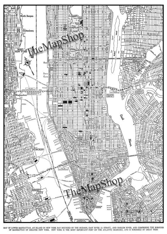 Vintage 1910 MAP of NEW YORK City NyC Street Map Colorful – Printable Map of Manhattan Nyc