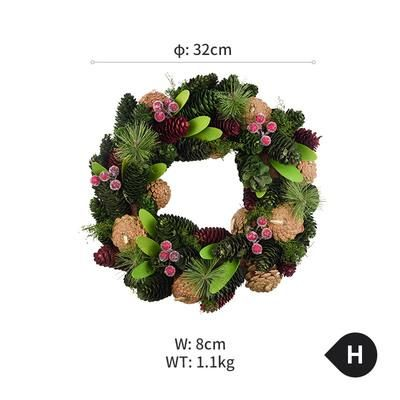 Artificial Christmas Wreath with Pine Cones and Berries – H