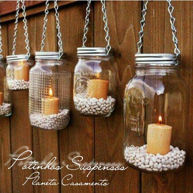 E esses potinhos suspensos? Amei... #detalhes #decoração #casamento #detail #wedding #weddingday #planetacasamento