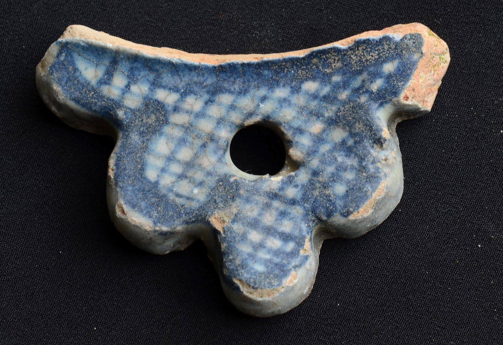 Delft porringer or bleeding bowl handle found mudlarking on the Thames foreshore London.