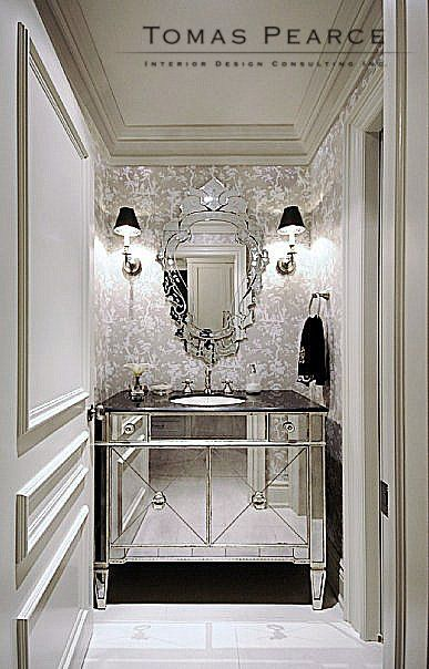 For Inspiration Mirror Cabinet Cloakroom Showing Light Wallpapered Walls Coving Beautiful