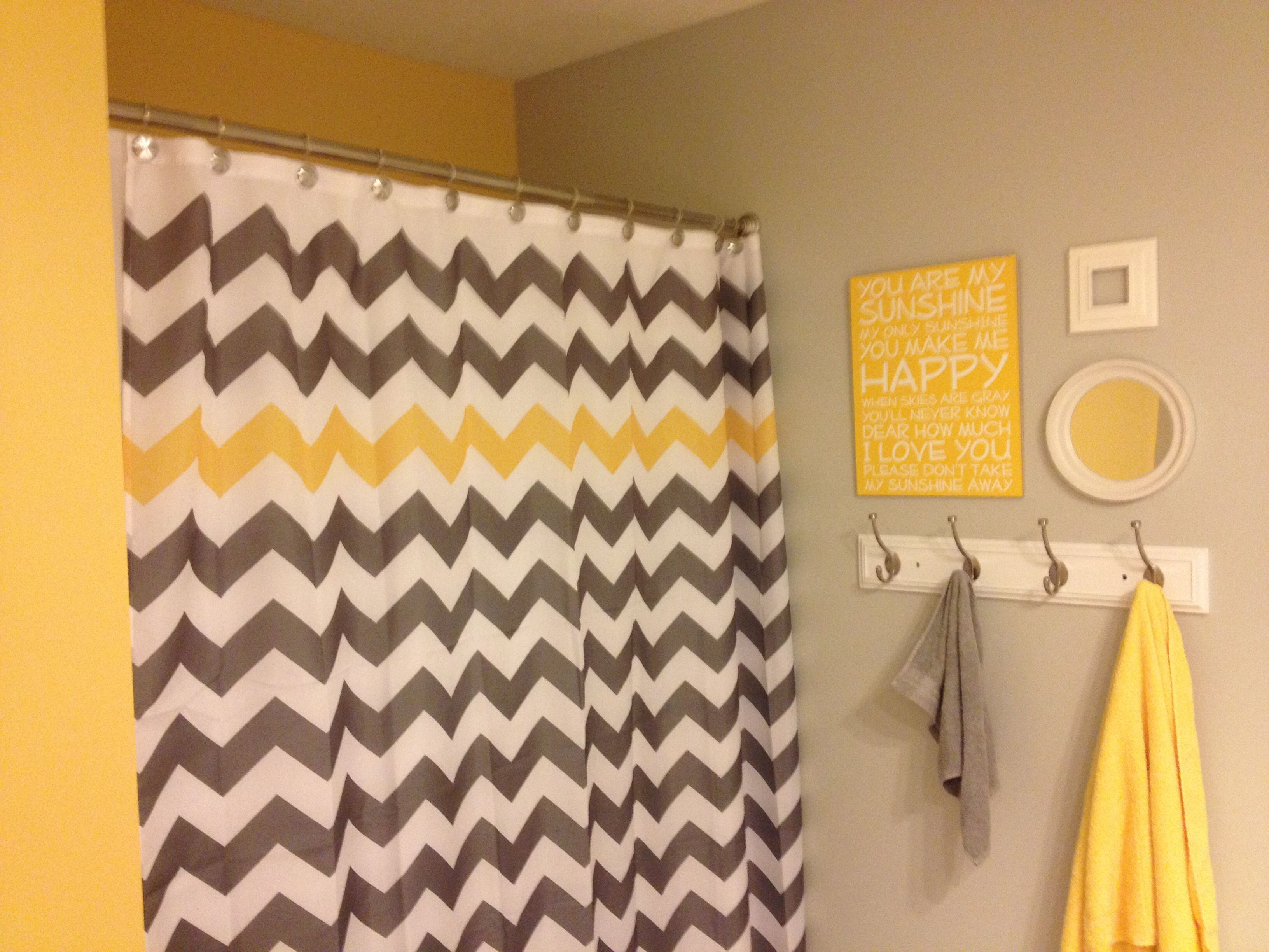 Yellow and grey you are my sunshine chevron kids for Bathroom decor yellow and gray
