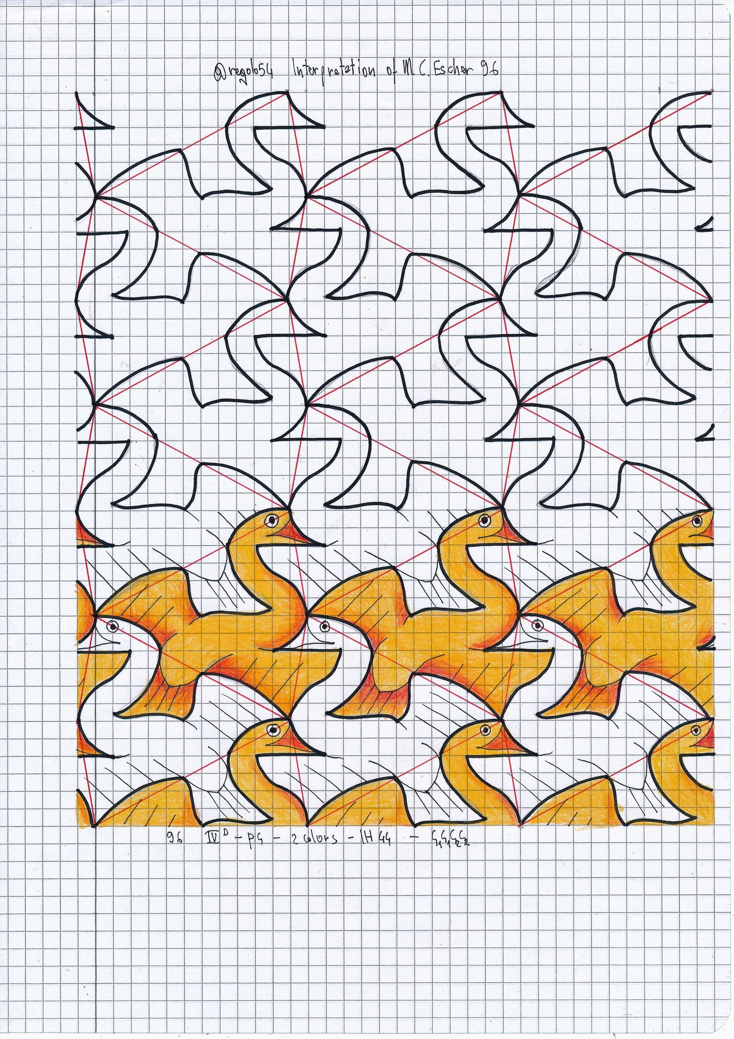 My Interpretation Of Mc Escher Symmetry Nr 96 Tessellation Symmetry Geometry Pattern Handmade M Proyectos De Arte Dibujos En Cuadricula Dibujo Geometrico