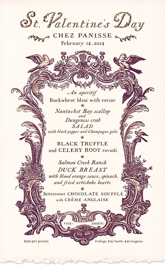 Chez Panisse Valentine S Day Menu Hand Lettered By Cynthia