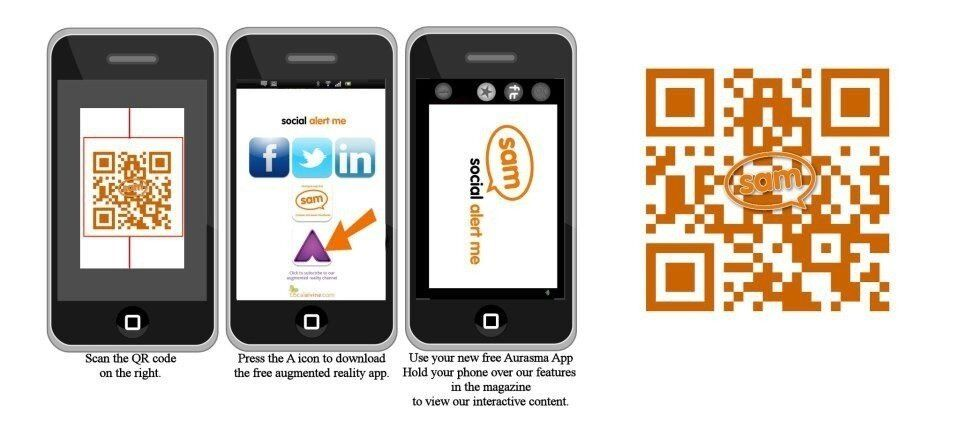 Scan with QR code reader to follow us on Aurasma and