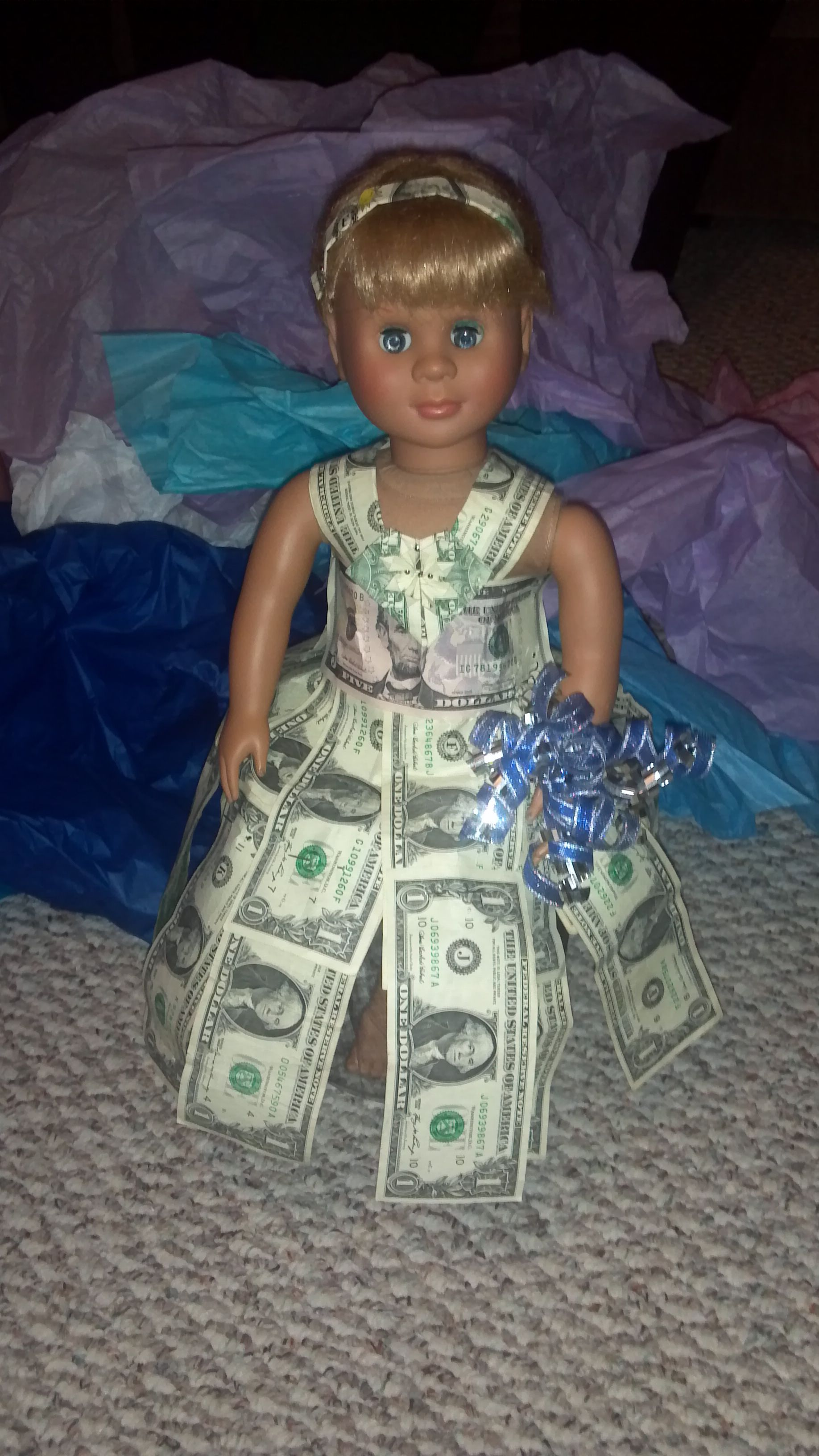 Doll dress made of money for a gift idea | Miscellaneous ...