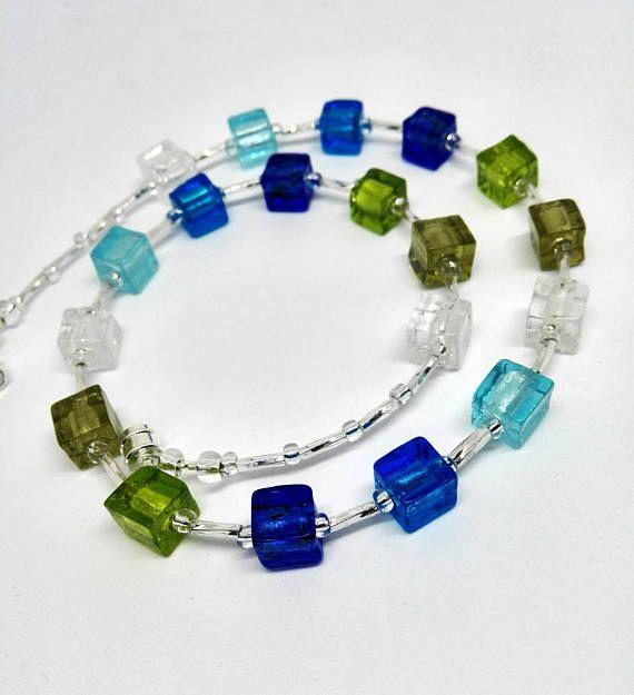 Bunte kurze Halskette Muranoglas Wasserfarben Würfel Kette