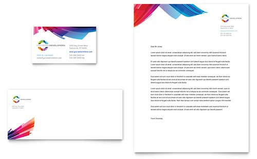 Software Solutions Business Card \ Letterhead Template Design - free business letterhead templates download