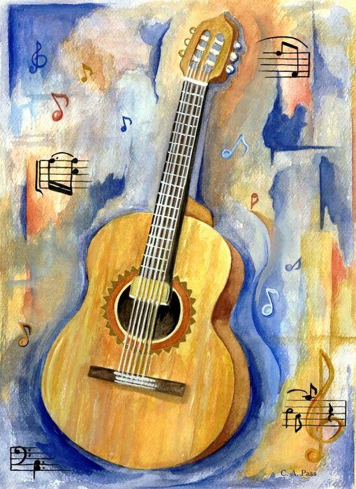 Watercolour Illustration Of Guitar