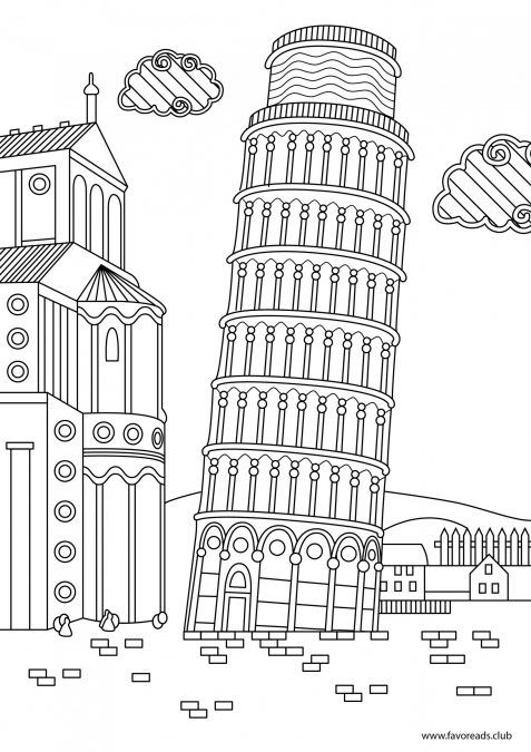 Tower Of Pisa Printable Adult Coloring Page